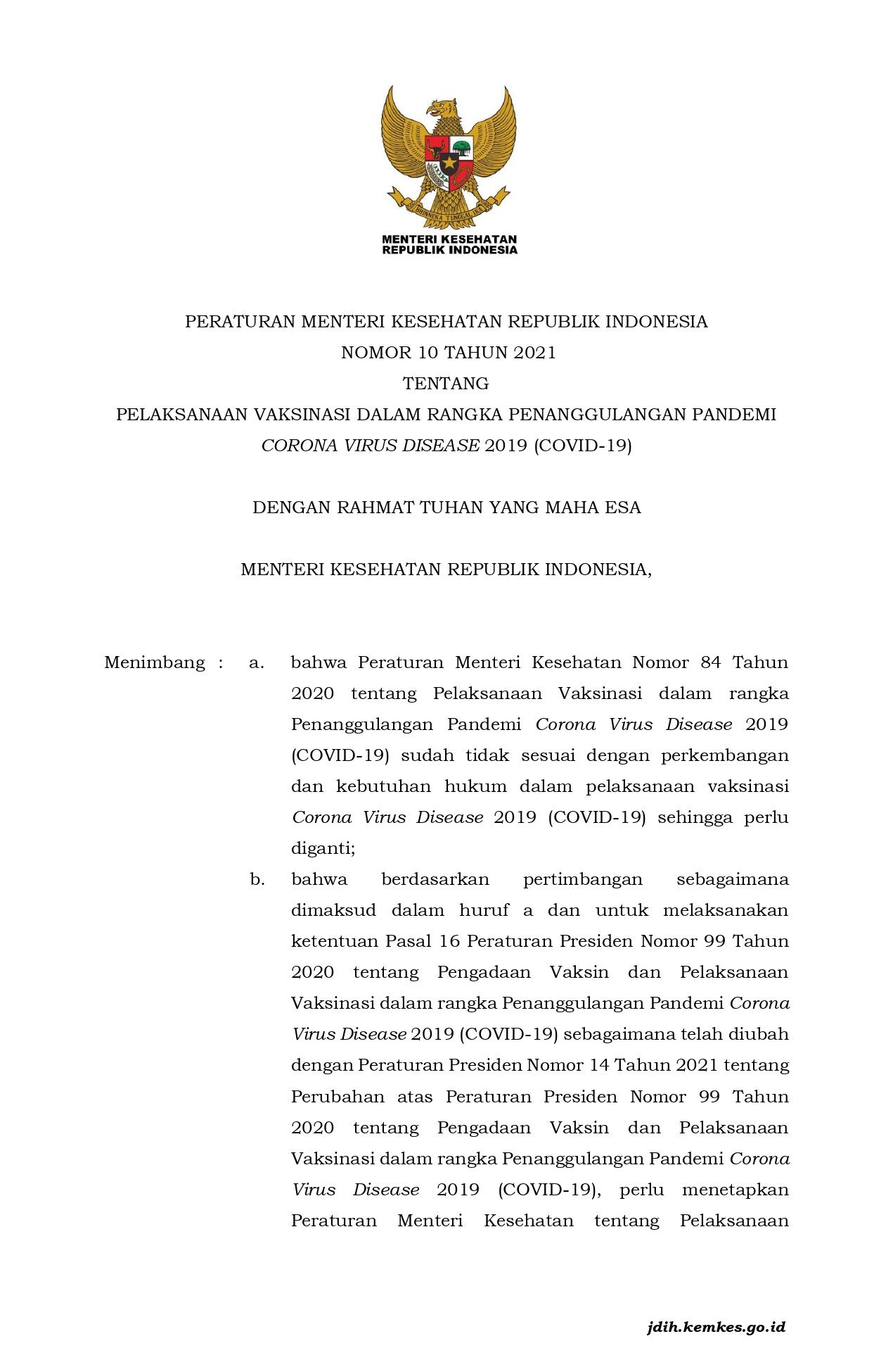Peraturan Menteri Kesehatan Republik Indonesia Nomor 10 ...